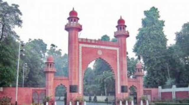 aligarh muslim university students protest in front of aligarh railway station