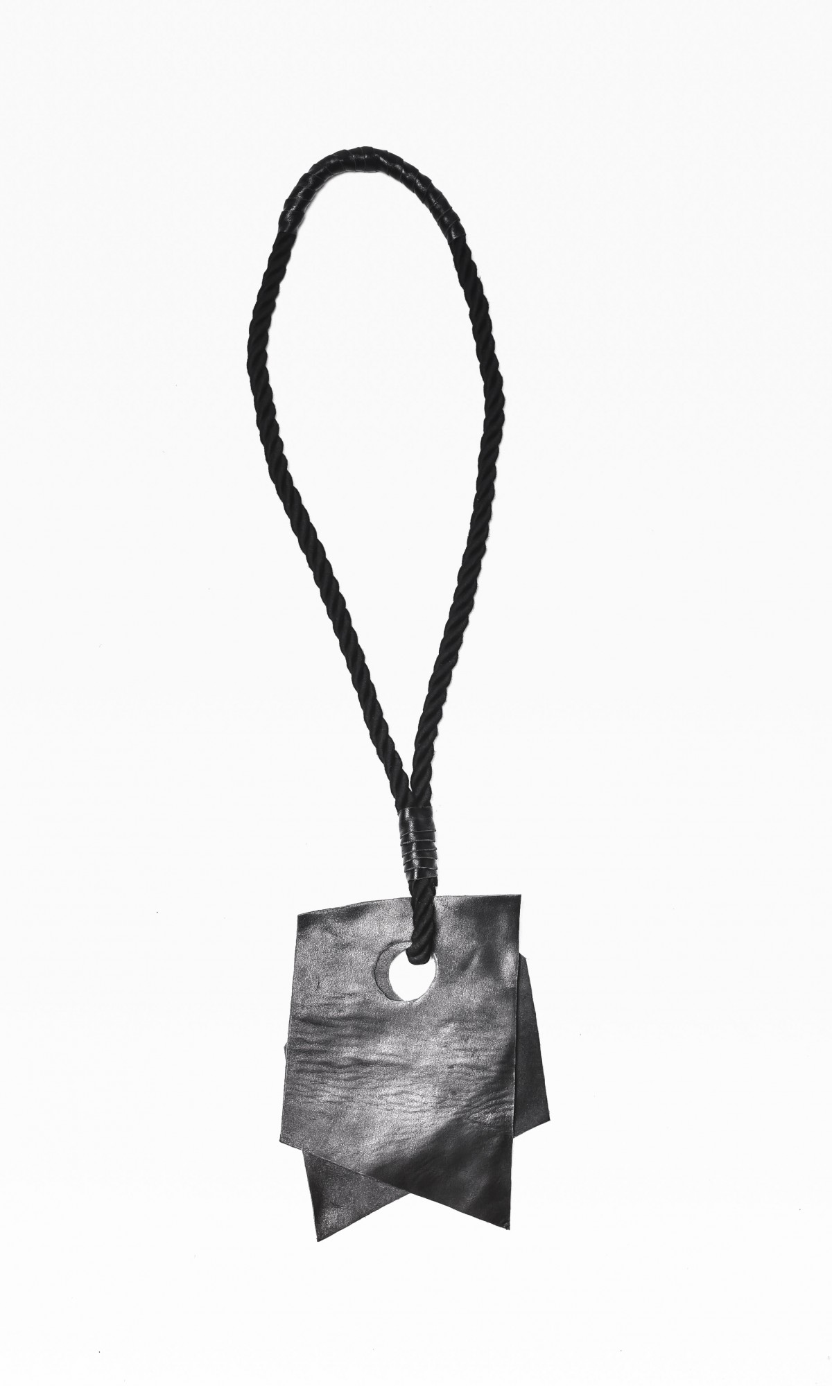 Extravagant Black Genuine Leather Piece On A Rope Necklace