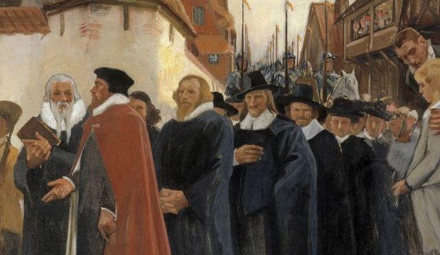 """Kopio Albert Edelfeltin maalauksesta """"Turun akatemian vihkiäiskulkue"""" Helsingin yliopiston juhlasalissa"""