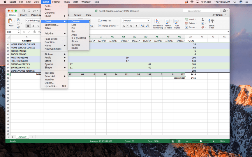 Screenshot of creating a chart in Excel