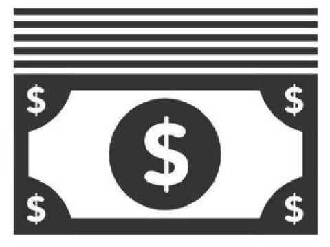 Icon image of a stack of dollar bills in black and white.
