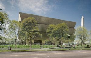 Exterior rendering of the National Museum of African American History and Culture.