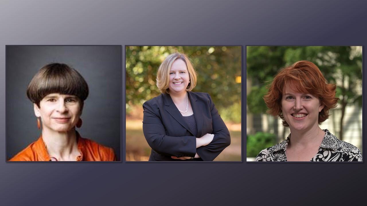 Headshots of Elizabeth Merritt on the left, Laura L. Lott in the center, and Julie Hart on the right.