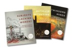 "Three books stacked on top of one another including ""Subjects Lacking Words?,"" ""Ultimate Witnesses,"" and ""Twinsome Minds"""