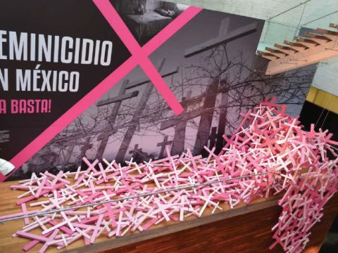 Small pink and white sticks line up in front of a text panel in the exhibition.
