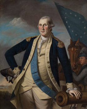 A portrait painting of George Washington, in military uniform, one hand on his hip and the other leaned against a table. In the background are the sky, a horse, a man, and a colonial flag.