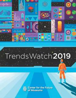 """Cover graphic for TrendsWatch 2019 with a person standing in the lower right corner looking at the words """"TrendsWatch 2019"""" with graphic images of shapes above."""