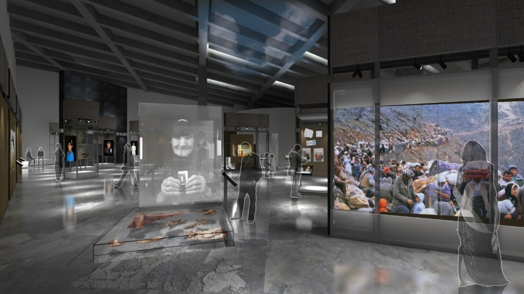 A rendering shows hypothetical visitors engaging with projected photographs and physical artifacts.