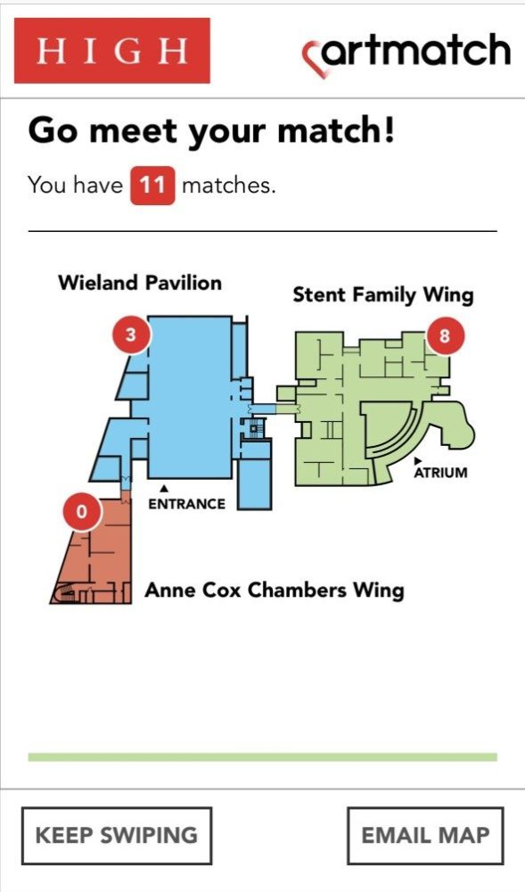 "A screenshot of the app says ""Go meet your match! You have 11 matches."" A map below shows where the matches are by section of the museum; eight are in the ""Stent Family Wing"" and 3 are in the ""Wieland Pavilion."""