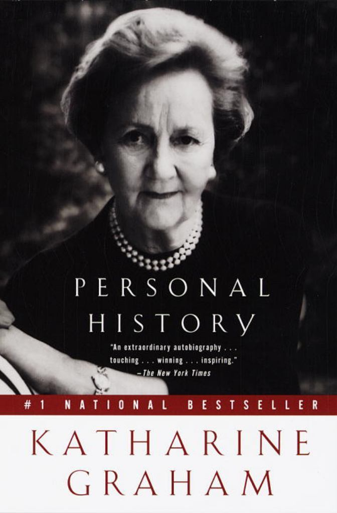 "Book cover with a portrait of Katherine Graham and the title ""Personal History."""