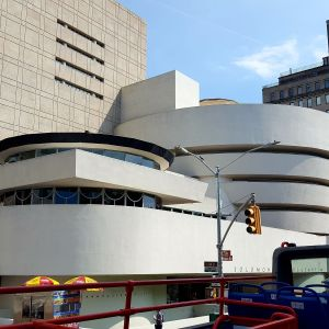Exterior shot of the spiral-shaped facade of the Guggenheim museum in New York.