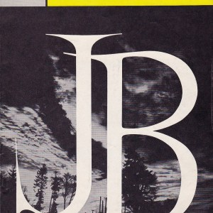 "A Broadway playbill with the letters ""JB"" in white text on a black background."
