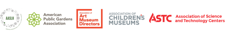 Sponsor logos in alpha order: American Association for State and Local History, American Public Gardens Association, Association of Art Museum Directors, Association of Children's Museums, Association of Science and Technology Centers