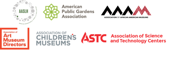 Sponsor logos in alpha order: American Association for State and Local History, American Public Gardens Association, Association of African American Museums, Association of Art Museum Directors, Association of Children's Museums, Association of Science and Technology Centers