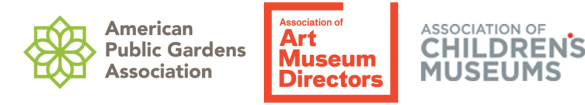 Corporate logo for American Public Gardens Association, Association of Art Museum Directors, and Association of Children's Museums
