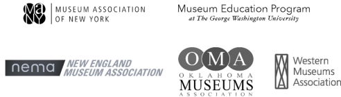 Corporate logos for Museum Association of New York, Museum Education Program - George Washington University, New England Museum Association, and Oklahoma Museums Association, and Western Museums Association