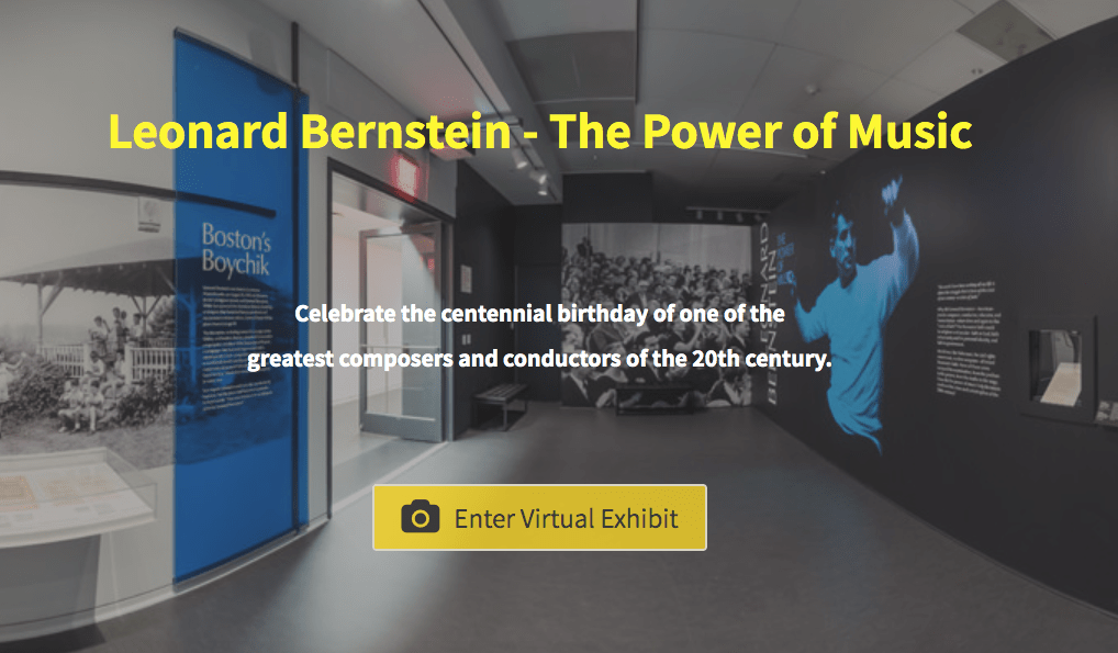 "A graphic reading ""Leonard Bernstein - The Power of Music. Celebrate the centennial birthday of one of the greatest composers and conductors of the 20th century. Enter virtual exhibit."""