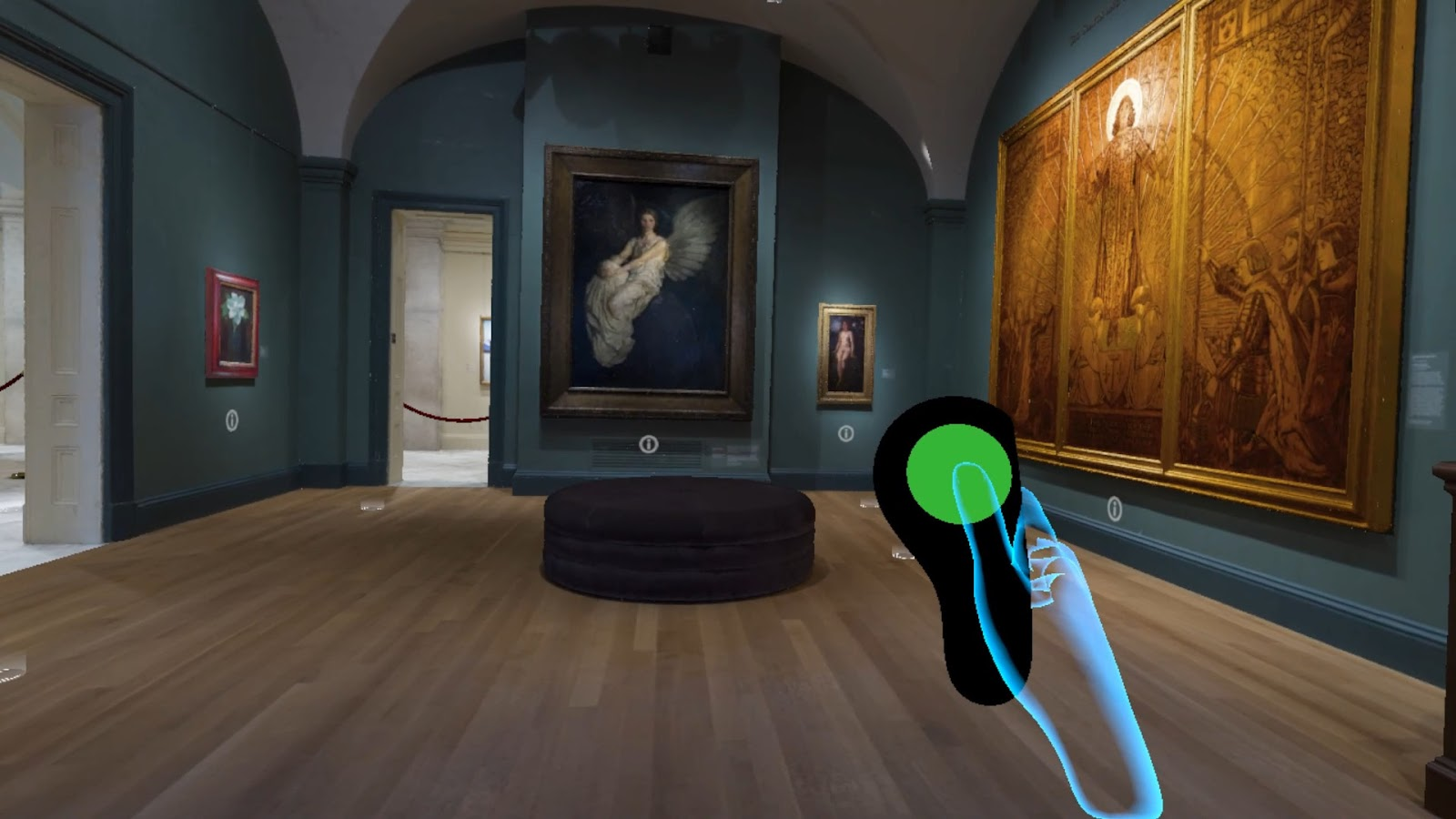 An art museum gallery with a rendering of a hand holding a remote control overlaid