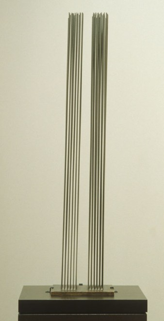 Two columns of vertical rods standing on a black base