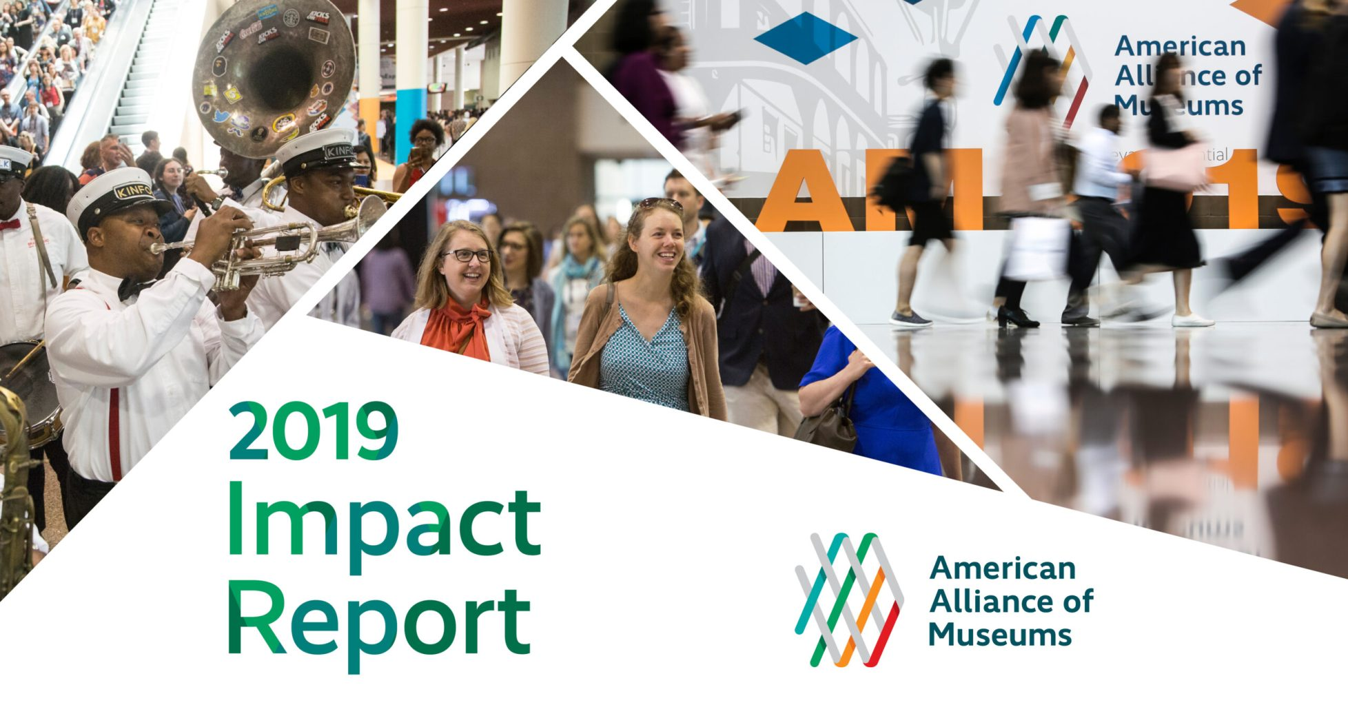 Cover of report showing three images of attendees to 2019 Annual Meeting in New Orleans. Image one shows a crowd of attendees coming down an escalator at the convention center behind a jazz band, and the other two images show people walking the hall near the registration desk.