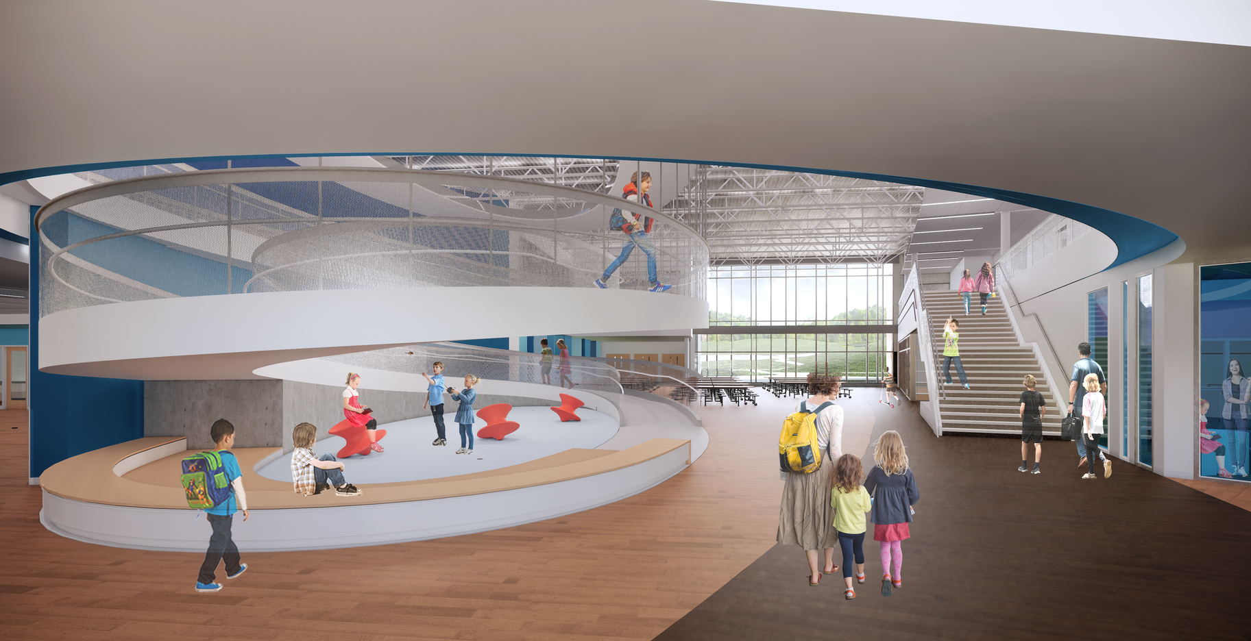 Rendering of a school lobby where a large parabolic ramp to the second floor is visible, with seating at the bottom