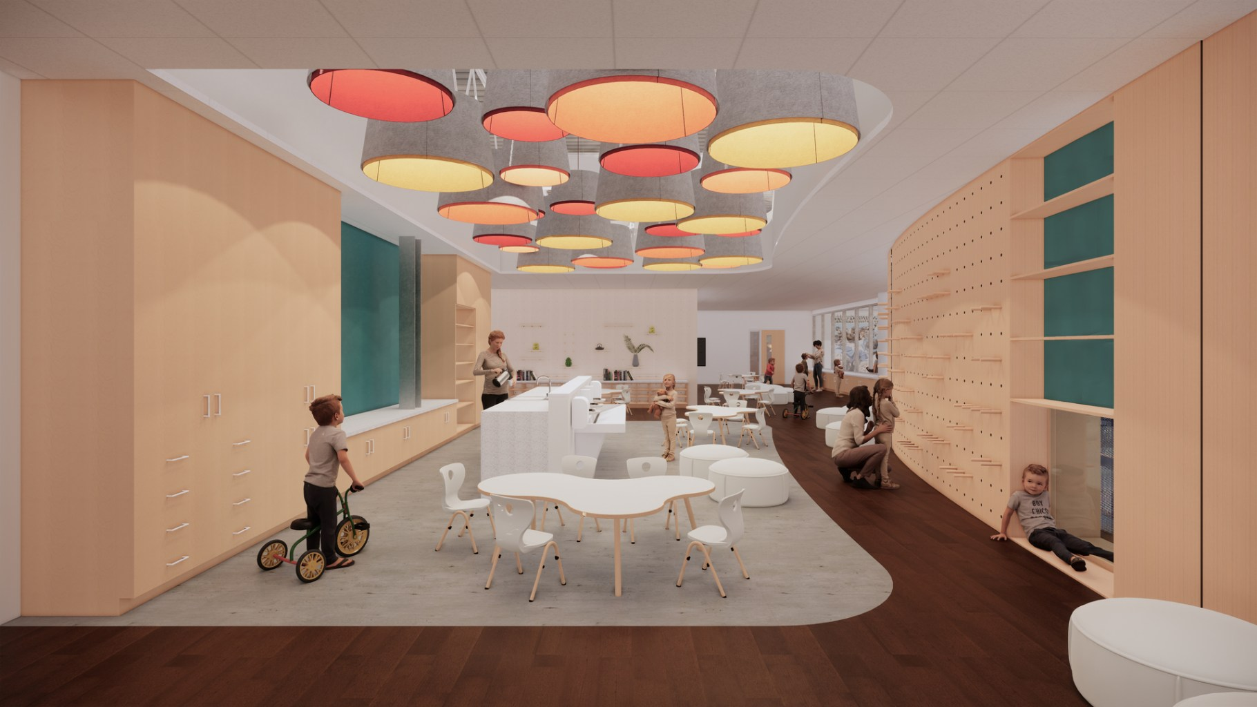 Rendering of a classroom interior with modern furniture and lighting, and a wall covered in pegs with a student and teacher are looking at