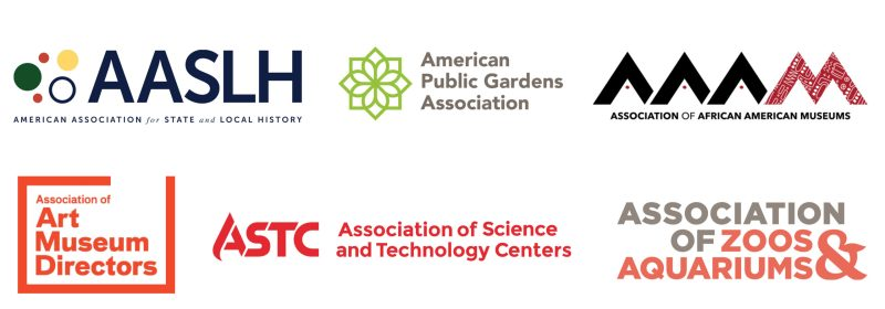 Logos: American Association for State and Local History (AASLH), American Public Gardens Association, Association of African American Museums (AAAM), Association of Art Museum Directors, Association of Science and Technology Centers (ASTC), and Association of Zoos & Aquariums