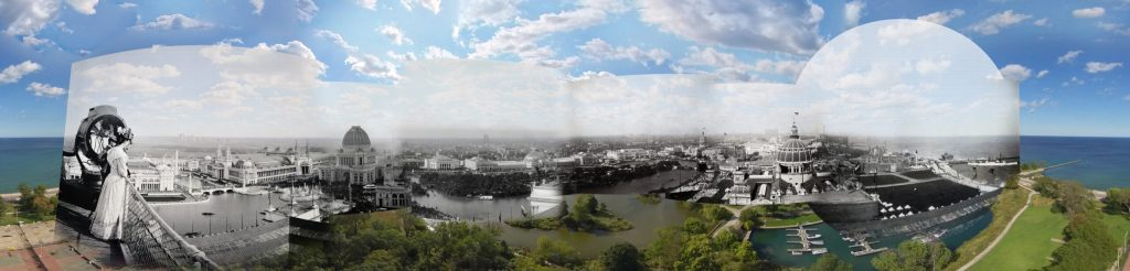 A panoramic photograph of a cityscape behind a lake, with black-and-white historical photographs superimposed on matching areas.