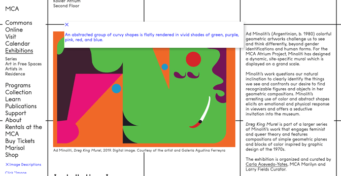 """A screenshot of the MCA Chicago website with a picture of an abstract painting visible, and the alt text pop-up """"An abstracted group of curvy shapes is flatly rendered in vivid shades of green, purple, pink, red, and blue"""" overlaid on it."""