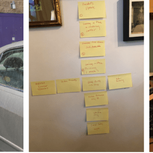 """A grid of images showing an exploded stress ball, the author wearing a mask and gloves and holding a canister of sanitizing wipes, a cruciform arrangement of sticky notes on a wall, a laptop open to a Zoom call, and a graphic announcing """"President Frank's Weekly Update of Programs"""""""