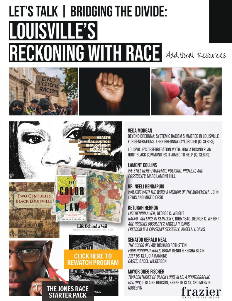 """A graphic reading """"Louisville's Reckoning with Race: Additional Resources"""" with the names of books related to race relations in Kentucky and the country in general"""