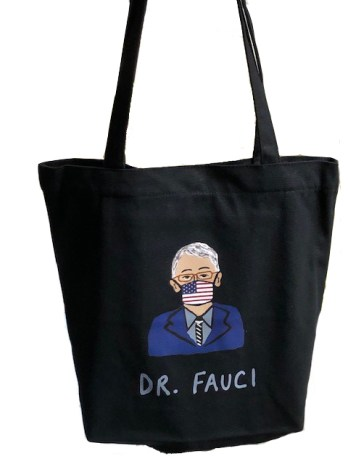A black tote bag with an illustration of Dr. Fauci wearing an American-flag-printed face mask