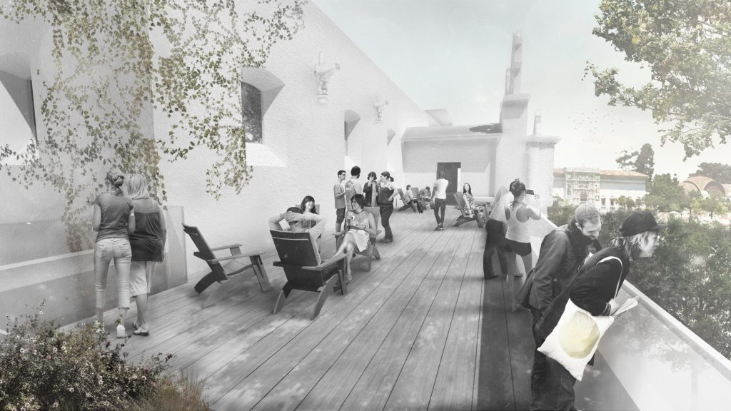 A rendering of people sitting and standing on an outdoor terrace