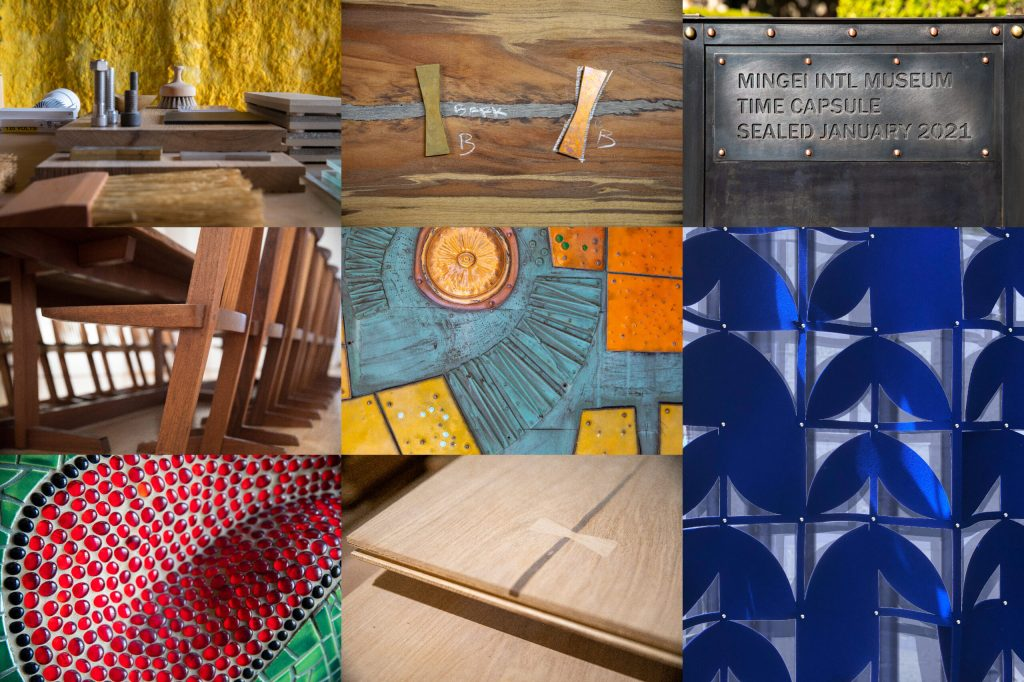 A collage of images showing small details found on surfaces and furniture inside the museum