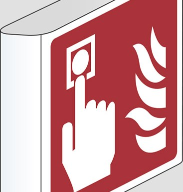 (allarme antincendio – fire alarm call point) a bandiera