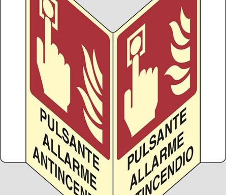 """PULSANTE ALLARME ANTINCENDIO """"V"""" luminescente"""