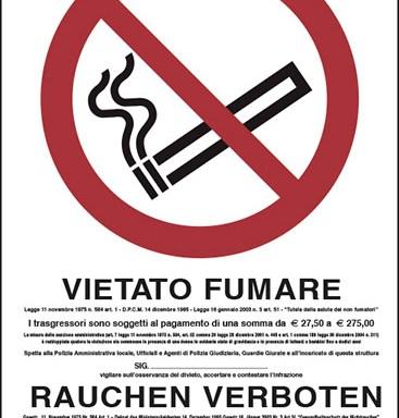 VIETATO FUMARE (con legge, in italiano e tedesco)