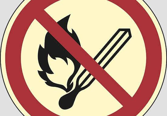 (no open flame: fire, open ignition source and smoking prohibited) luminescente