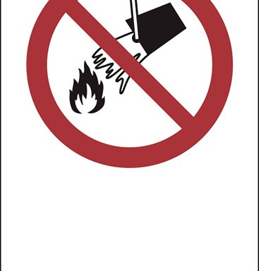 """(simbolo """"vietato spegnere con acqua – do not extinguish with water"""" con spazio scrivibile)"""