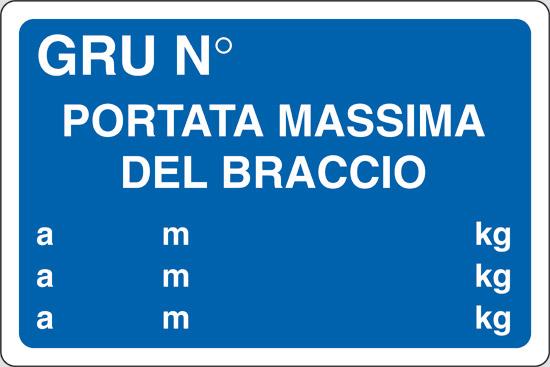 GRU N  PORTATA MASSIMA DEL BRACCIO a m kg