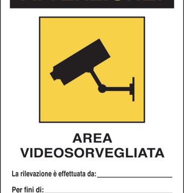 ATTENZIONE! AREA VIDEOSORVEGLIATA La rilevazione è effettuata da:____ Per fini di:____ Art. 13 del Codice in materia di protezione dei dati personali D.Lgs. 101/2018 e del Regolamento UE 2016/679 (GDPR)