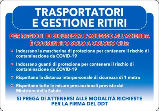 TRASPORTATORI E GESTIONE RITIRI COVID-19