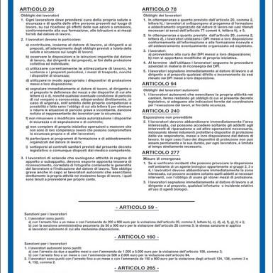 OBBLIGHI DEI LAVORATORI DECRETO LEGISLATIVO 9 APRILE 2008, N. 81