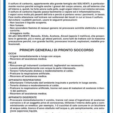 SOLFURO DI CARBONIO-SOLVENTI NORME DI SICUREZZA