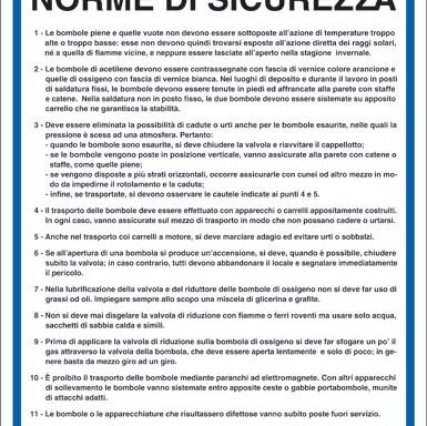 BOMBOLE OSSIACETILENICHE NORME DI SICUREZZA