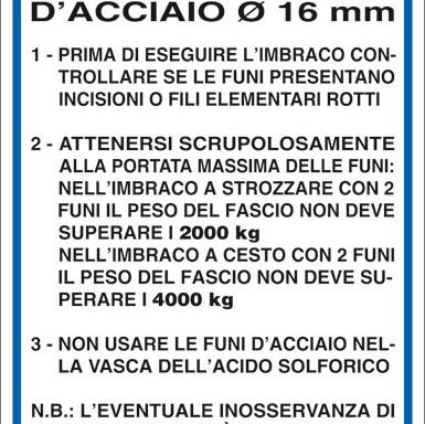 NORME PER L'USO DELLE FUNI D'ACCIAIO Ø 16 MM