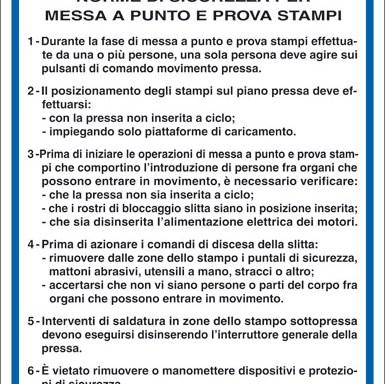 PRESSE NORME DI SICUREZZA PER MESSA A PUNTO E PROVA STAMPI