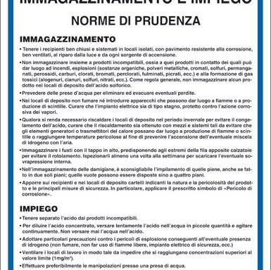 ACIDO SOLFORICO IMMAGAZZINAMENTO E IMPIEGO NORME DI PRUDENZA