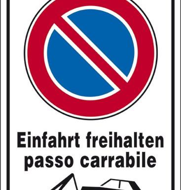 Einfahrt freihalten passo carrabile