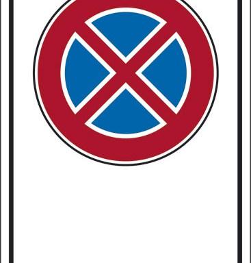 """(simbolo """"divieto di sosta e fermata"""" con spazio scrivibile)"""